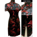 Black red Chinese Women's Satin Cheongsam Qipao Mini Evening Dress Size:S M L XL XXL XXXL 4XL 5XL 6XL