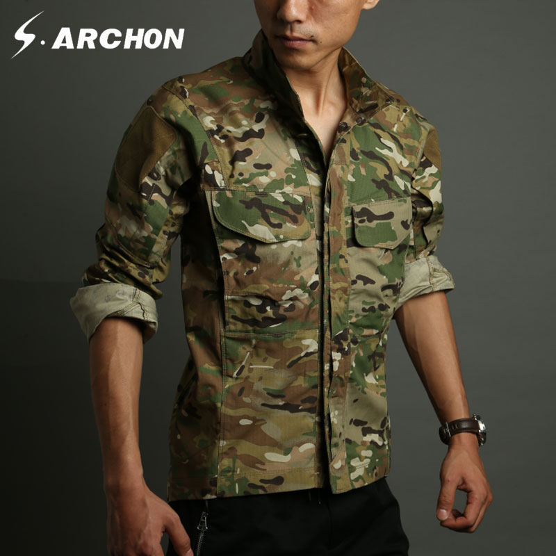 s.archon Summer Army Tactical Shirt Men Long Sleeve Waterproof Breathable Camouflage Military Shirt Pocket  Shirt men military tactical outdoor shirts 100% cotton breathable long sleeve shirt army multi pockets swat shooting urban sports