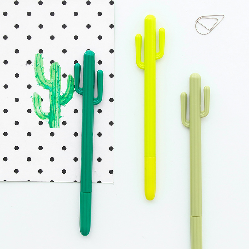 Cute Cactus Neutral Pen Creative Korean Stationery Cartoon Creative Gel Pen Authentic Pen Student Award Office Stationery