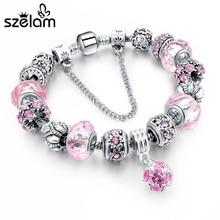 ФОТО adjustable pink crystal&glass beads charm bracelet for women fit pandora bracelet jewelry pulseira feminina hot sale sbr150306