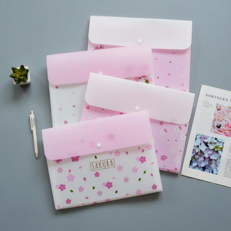 1 Pcs Kawaii 6 Grids Cherry Blossoms Sakura File Folder Organizer Box Paper Holder Document Bags Expanding Wallet Stationery