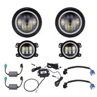 Partol 7 светодио дный круглая светодиодная фара с вращающимся RGB Halo Ring angel eyes Multi color Изменение Здравствуйте/Lo луч + противотуманный свет компле