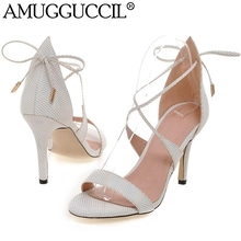 2017 New Plus Big Size 32-43 White Pink Gray Lace Up Fashion Sexy High Heel Summer Girl Female Lady Women Sandals L873