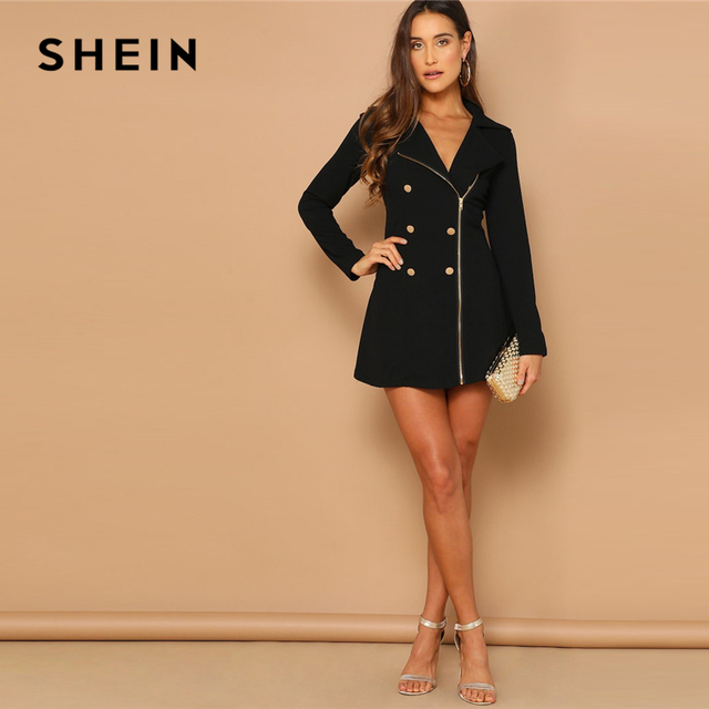 Black Double Breasted Detail Asymmetrical Zip Up Notched Dress Spring Elegant Fit And Flare A Line