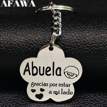 2021 New Fashion Grandmother Stainless Steel Key Chain for Women Silver Color ABUELA Keyring Jewelry llaveros mujer K77411B image