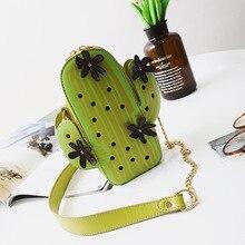 Neue frauen mini handtaschen weibliche mode 6 farben kaktus pflanze form beiläufige kleine tasche sommer appliques schulter Messenger bags