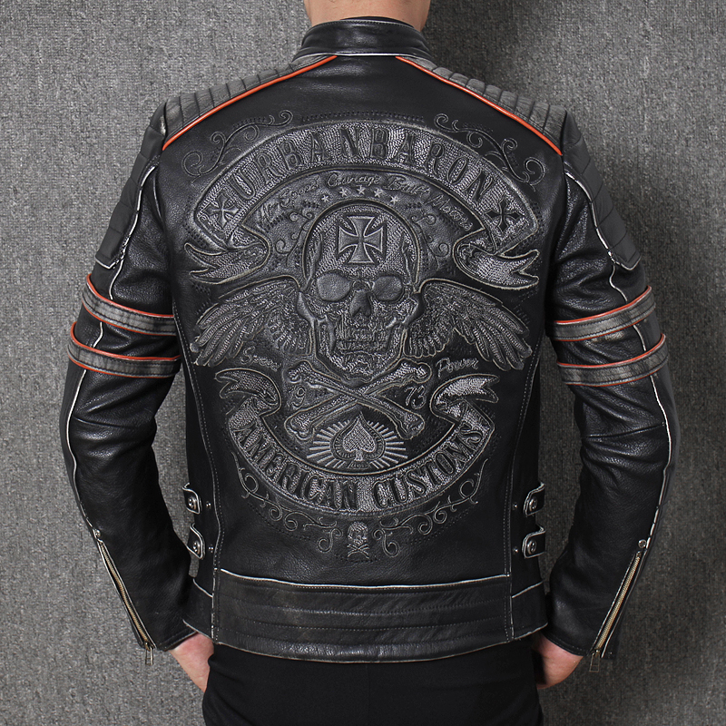 3dc0e9938e2 2019 Vintage Black Men s Genuine Leather Jacket Skull Embroidery Pattern Plus  Size XXXL Real Cowhide Biker s Coat FREE SHIPPING-in Genuine Leather Coats  ...