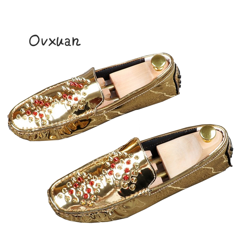 Ovxuan Patent Leather Loafers Men Slippers Colorful Rivets Moccasins Man  Flats Wedding Men s Dress Shoes Casual boat shoes-in Men s Casual Shoes  from Shoes ... 2a36737598a7