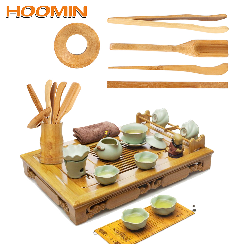 HOOMIN 5 Pieces/set Tea Ceremony Utensils Set Wooden Teaware Bamboo Teaspoons Needle Tweezer Clip Strainer Tong Tube Set