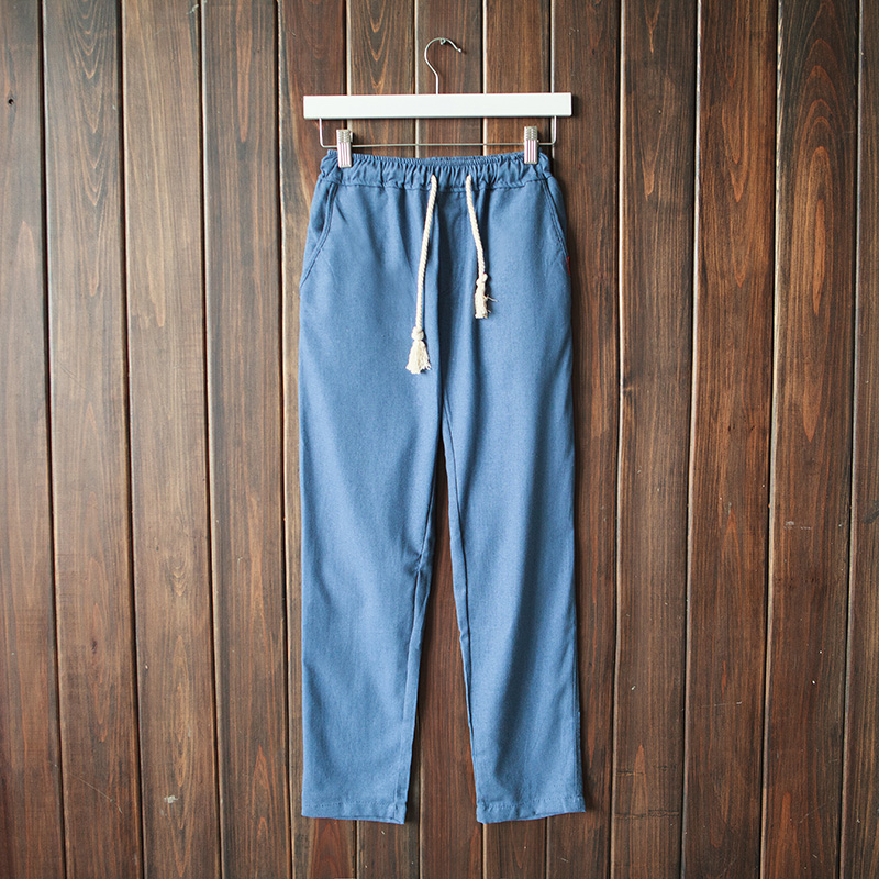 Men's Trousers Linen Elastic-Waist Loose Wild-Harlan Cotton Summer And Drawstring Breathable