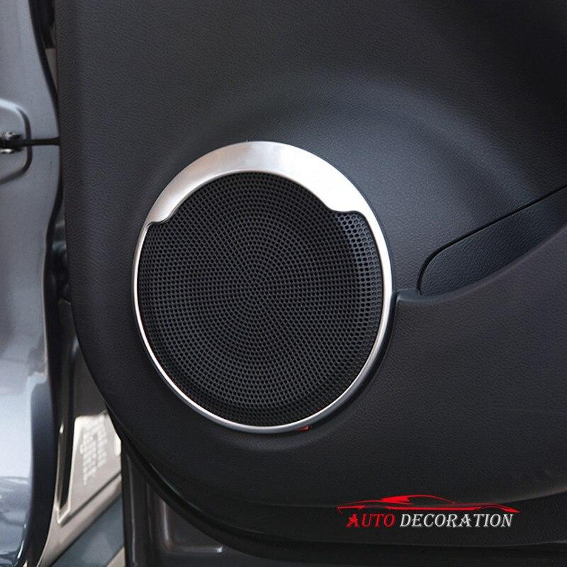 For Nissan Kicks 2017 2018 Car styling Interior Accessories Matte Front Door Speaker Stickers Cover Trim 4pcs car accessories 4pcs front