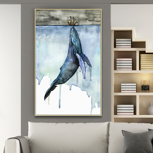 Whale Modern Porch Background Decoration Canvas Print  1