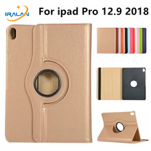 New 360 Degree Rotating Litchi Leather Case For Apple iPad Pro 12.9 2018 Flip St