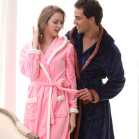 QWEEK Blue Flannel Men Robe Kimono Male Robe Long Men Sleepwear Peignoir Soft Warm Couples Home Wear Long Sleeve Terry Robe
