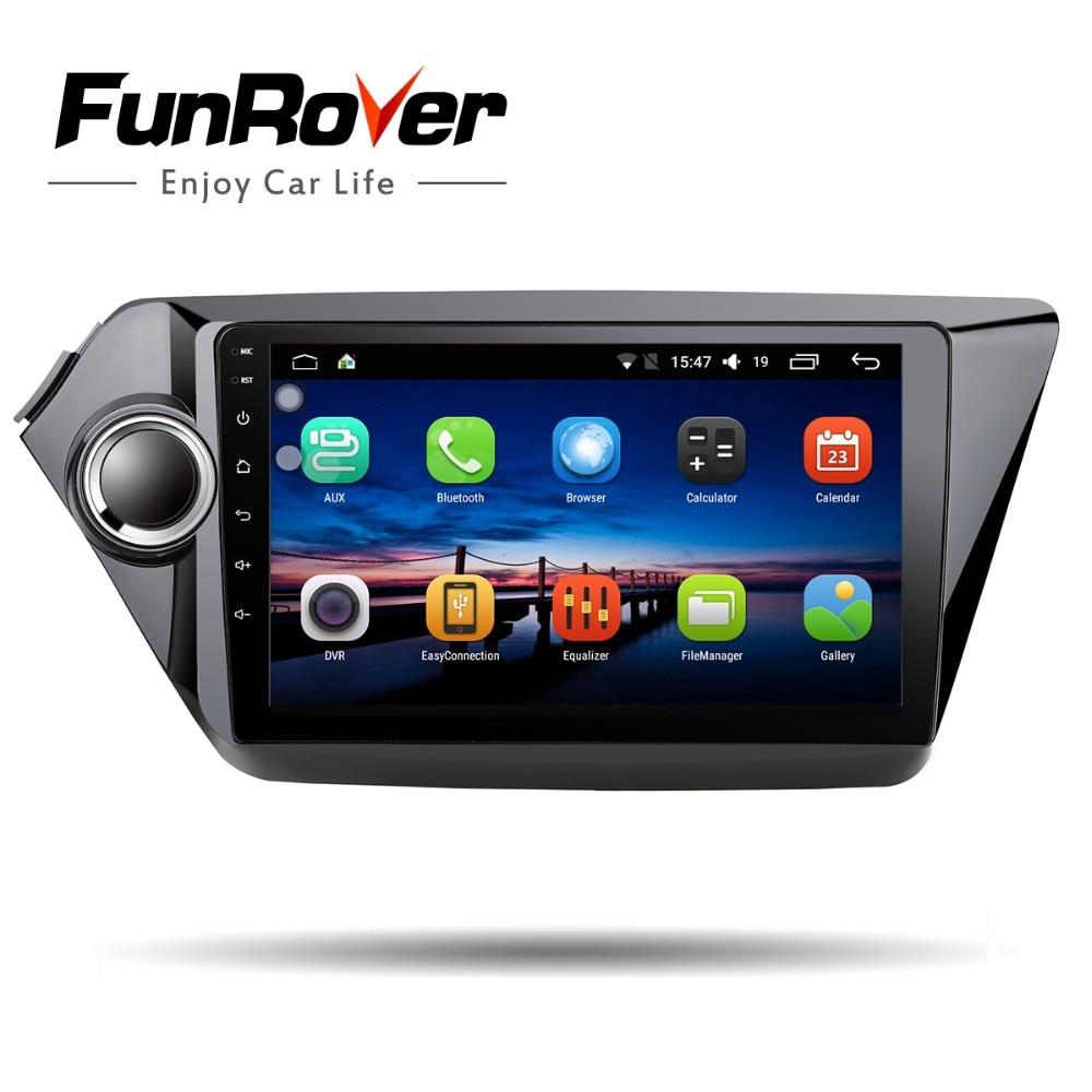 Funrover 2 din car dvd for kia k2 Rio 2010 2011 2012 2013 2014 2015 2016 gps glonas navigation car radio tape recorder usb wifi