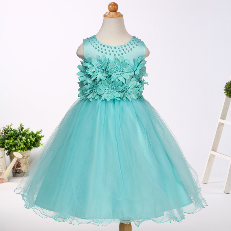 New European Flower Girls Dress Girl Princess Dresses Kids Evening Party Dress Ball Gown Summer Children Clothing 1- 7 Years newborn girls dresses 2017 new summer sleeveless baby girl lace dress ball gown kids dress princess girl children clothes 3ds092
