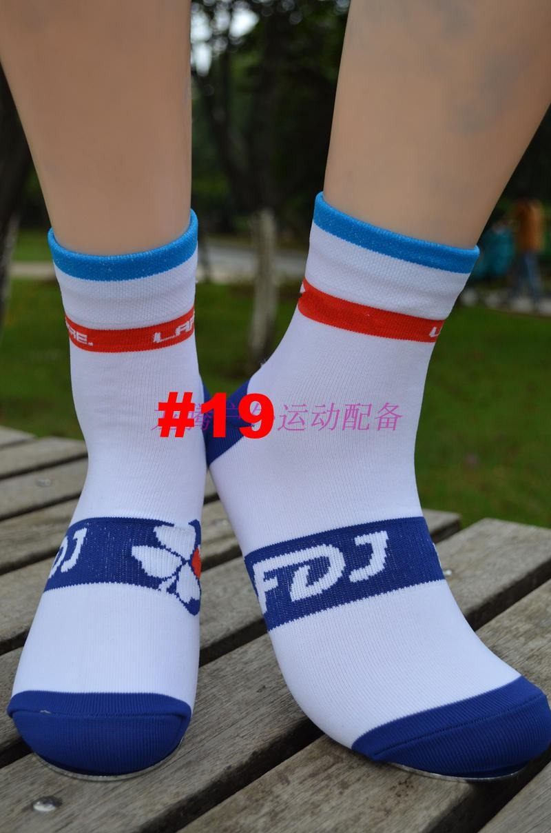 (1 Pair) Pro Team FDJ White Cycling Socks Breathable High Knee Protect Feet Breathable Wicking Sprots Sock Outdoor Road Bike