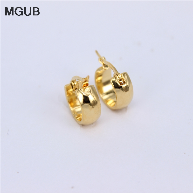 MGUB Small 15mm glossy earrings stainless steel gold color popular cute men and font b women
