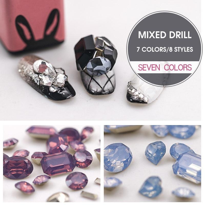 Nieuw 1 partij puntig terug scherpe mix nail art kristal topkwaliteit opaal kleur nagel Boor ornament Zomer serie glas nail Rhinestone