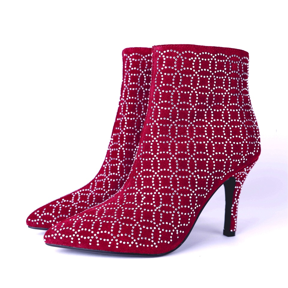 Autumn winter fashion womens boots high quality fabrics beautifully decorated comfortable shoes 9CM high heel womens bootiesAutumn winter fashion womens boots high quality fabrics beautifully decorated comfortable shoes 9CM high heel womens booties