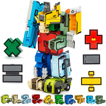 15PCS Assembling Building Blocks  Educational Toys Action Figure Transformation Number Robot Deformation Robot Toy for Children