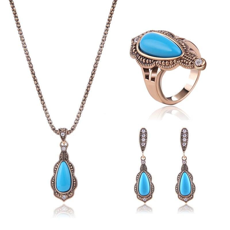 Unique Design Turkish Jewellery Sets Noble Antique GoldSilver