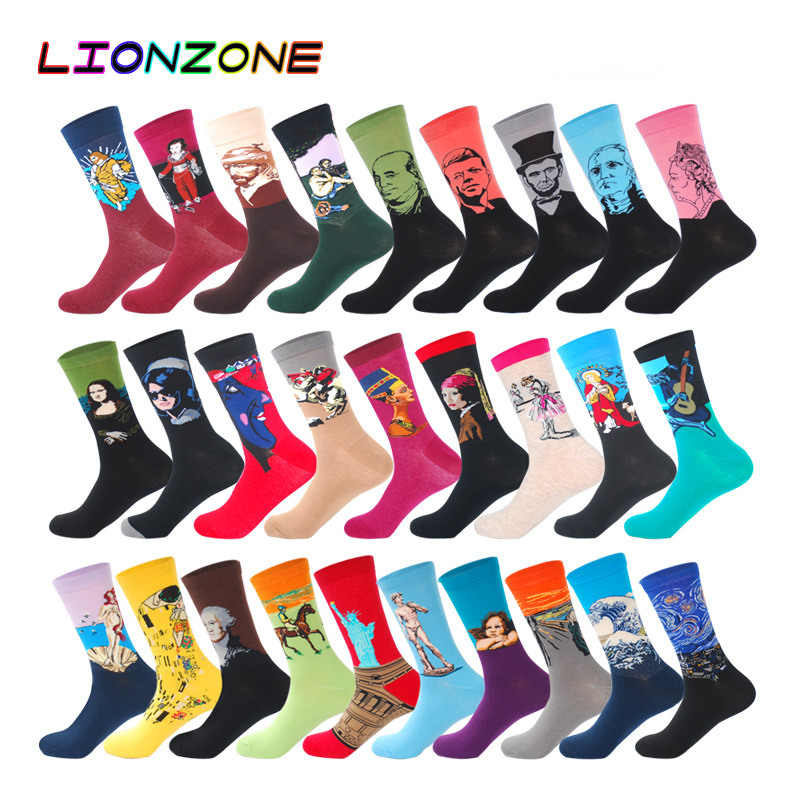LIONZONE Men Fashion Casual Combed Cotton Socks Napoleon Jesus Famous Oil Paintings 28Colors Winter Happy Socks Funny