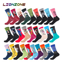 LIONZONE Men Fashion Casual Combed Cotton Socks Napoleon Jesus Famous Oil Paintings 28Colors Winter Happy Socks