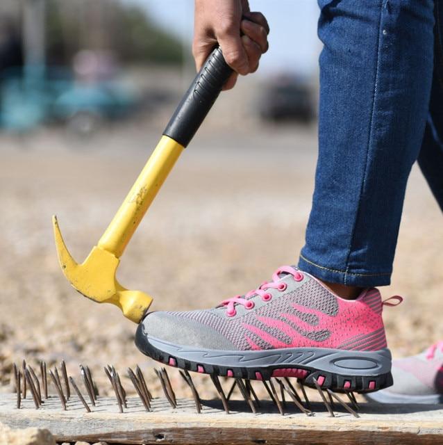 Toe thép Giày An Toàn Đàn Ông Phụ Nữ Mùa Hè Lưới Thoáng Khí Công Nghiệp và Xây Dựng Đâm Bằng Chứng Làm Việc Giày Giày Giày Bảo Vệ Giày Dép