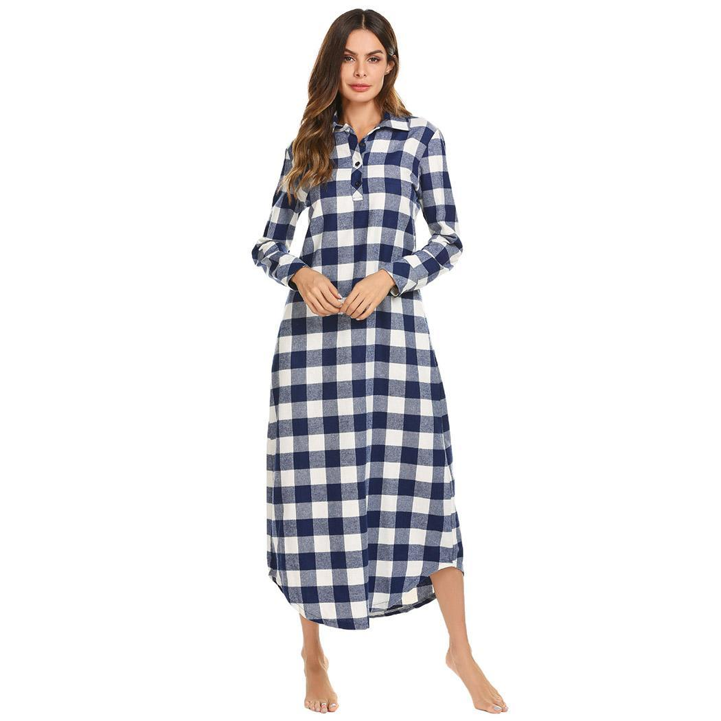 Ekouaer Long   Nightgown   Casual   Sleepshirts   Women Long Sleeve Plaid Turn-down Collar Nightdress Female Sleepwear Dress Plus Size