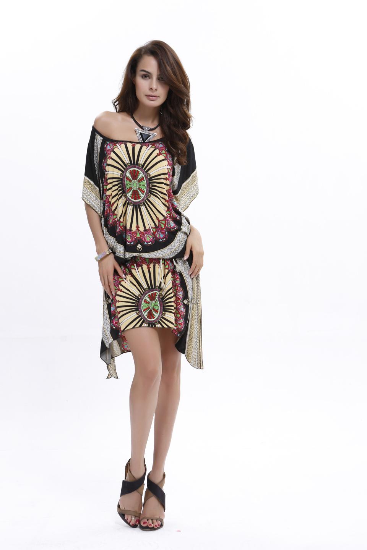 2113f5270f8 Women s Nepal Print Ankle Length Dress Casual Loose Dress Batwing ...