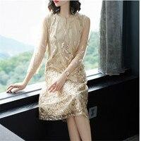 Fashion Gold Sequin Embroidery Plus Size Dress Mesh Short Sleeve A Line Sundress Vintage Lace Loose Women Dresses