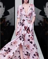 2017 New Summer Dress Women Fashion Lady S Long Pink Print Flower V Neck Dress High