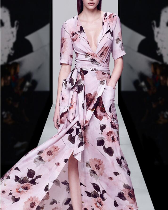 New Summer Dress Women Fashion Lady s Long Pink Print Flower V