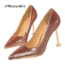 Plardin New Shoes Woman Sequins Pointed Toe Sexy Women Party Wedding Nightclub Mixed Colors Thin High Heel Pumps Women Shoes(China)