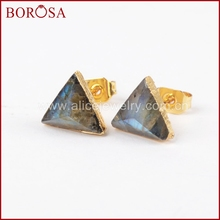 BOROSA 8mm משולש זהב צבע טבעי ברדוריט פיאות Drusy עגילים, Druzy אבן הרבעה עגילי עבור סיטונאי G1300