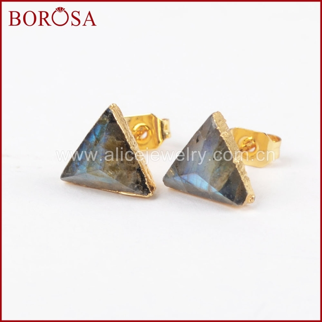 BOROSA 8mm Triangle Gold Color Natural Labradorite Faceted Drusy Stud Earrings, Druzy Stone Studs Earrings for Wholesale G1300