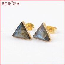 BOROSA 8mm triángulo Color dorado labradorita Natural facetado Drusy Stud pendientes, Druzy Stone Studs pendientes para venta al por mayor G1300