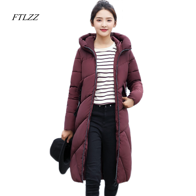 FTLZZ New Women Winter Jacket Medium Long Hooded Parkas Cotton Padded Snow Outwear Slim Warm Overcoats ftlzz new women winter jacket cotton coat slim large fur collar hooded parkas padded warm thickness medium long black overcoat