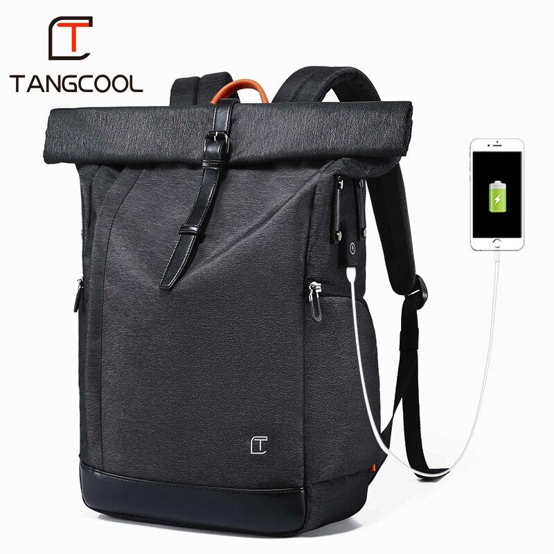 Tangcool hombres mochila para 15,6 pulgadas USB portátil mochila de gran capacidad de Stundet mochila repelente al agua mochila