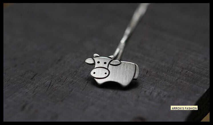 Modny krowa naszyjnik posrebrzane bydło oświadczenie kobiety naszyjnik zwierząt moda biżuteria