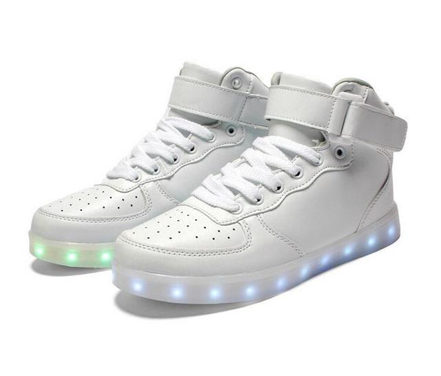 Free Shipping New Women Fashion White Black High-top Flat LED Light Shoes  Men Led Shoes for adults Shoes 7 colors HOT Sale Shoe. Price  9d41bcd2d