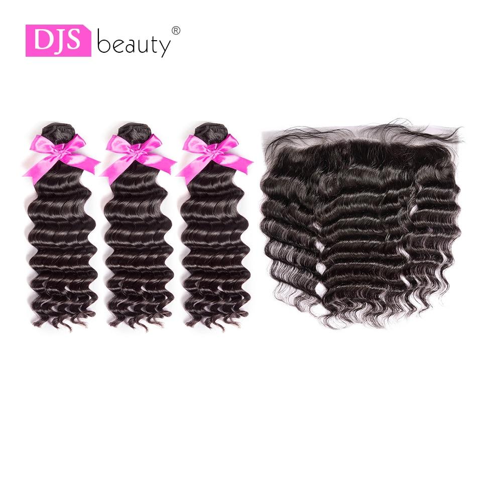 8a Djs Schönheit Haar Brasilianische Reines Haar 3 Stücke Natürliche Welle Bundles Mit 13*4 Spitze Frontal Natürliche Farbe Freies Verschiffen ZuverläSsige Leistung