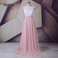 Elegant Long Bridesmaid Dresses 2018 LORIE Vestido de festa Pearls Beaded Chiffon Guest Wedding Party Dresses Floor Length