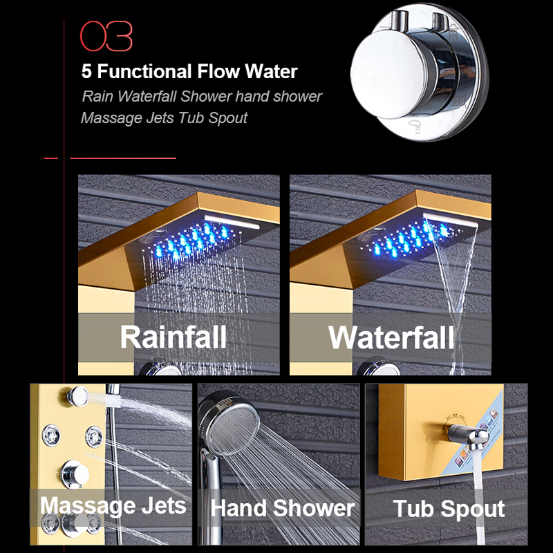 Quyanre-Gold-Nickel-Digital-Shower-Panel-Column-LED-Rain-Waterfall-Shower-Massage-SPA-Jets-Tub-Spout
