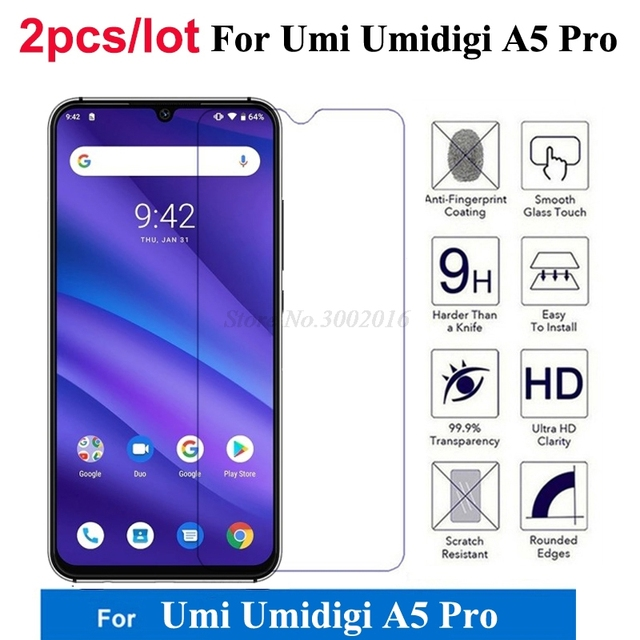 2Pcs for UMIDIGI A5 Pro Tempered Glass Explosion-proof Mobile phone Film Glass Case For UMIDIGI A5 Pro Screen Protector Cover