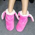 Winter Thick Cotton Snow Boots for Unisex Adult Big Children Long Ear Rabbit Warm Indoor Home Shoes