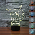 USB Control Remoto Colorido 3D Pikachu Lámpara de Mesa Luminaria LED Night Lights Kids Room Decorativo Lámparas de Iluminación de la Atmósfera