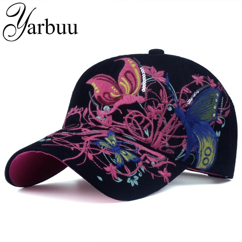 Prix pour [YARBUU] Baseball Caps 2017 Nouvelle Haute qualité Papillons et fleurs broderie D'été et automne casquettes de mode femmes baseball chapeau