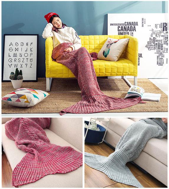 180X100 de punto Caliente cola de sirena manta de Otoño abrigo de Invierno ropa de cama blanda ganchillo hecho a mano elegante niños adultos sofá para dormir bolsa
